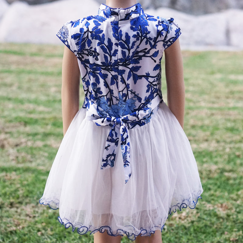 Blue/White Flower Silk Cheongsam Style Dress