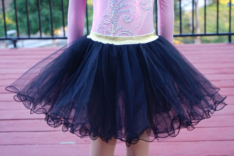 Gold Elastic Black Tutu Skirt
