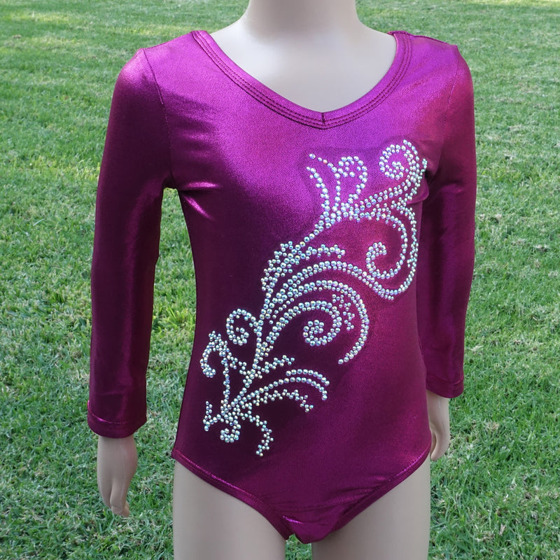 Hot Pink Long Sleeve  Rhinestone Competition Leotard