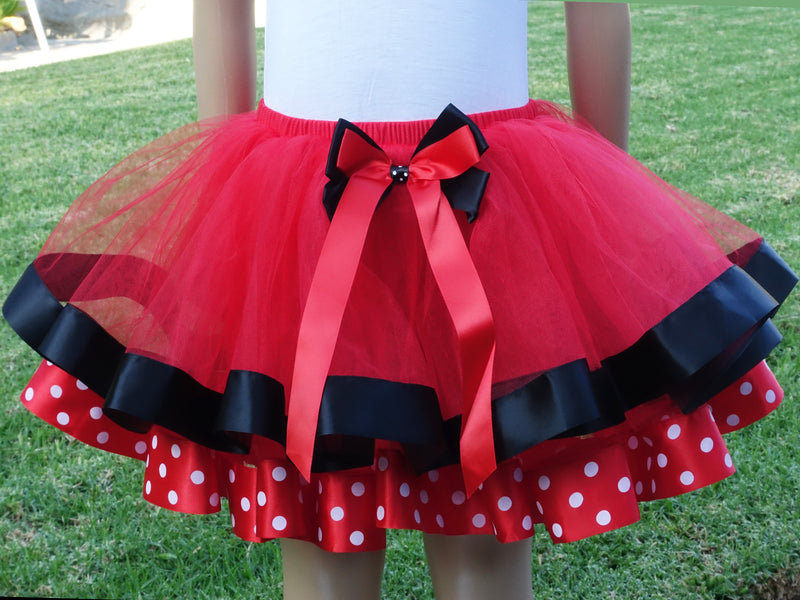 Red Black Minnie Polka dot  Ribbon Tutu Skirt