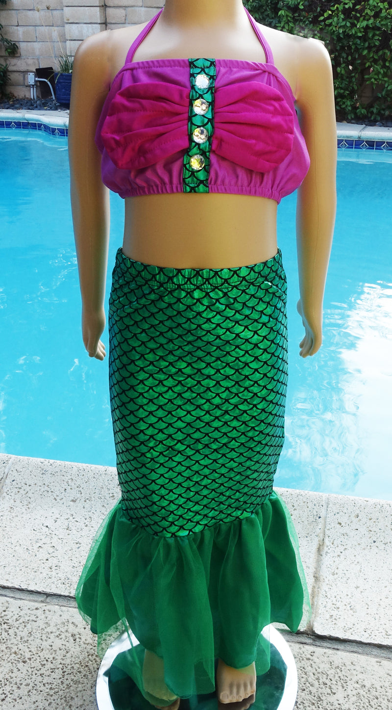 Green Mermaid Skirt Tail 3-Pieces Swimming Suit