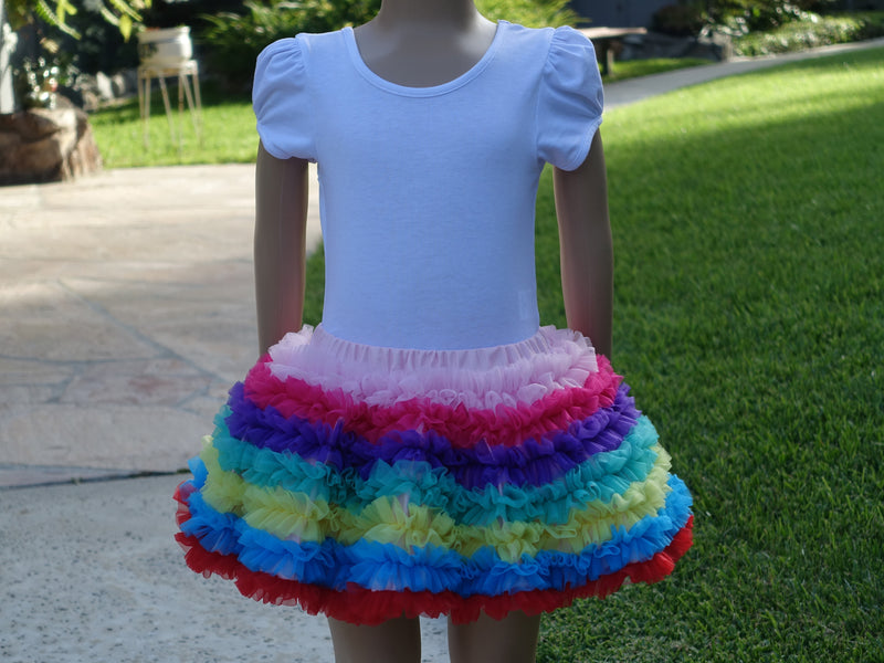Rainbow Ruffle Tutu Skirt