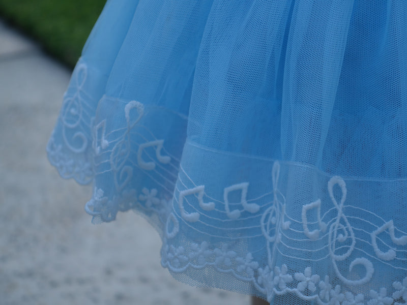 Blue Music Note Lace Trim Tutu Skirt
