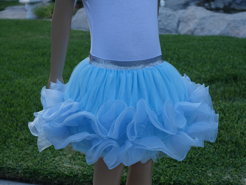 Blue Wave Trim Tutu Skirt