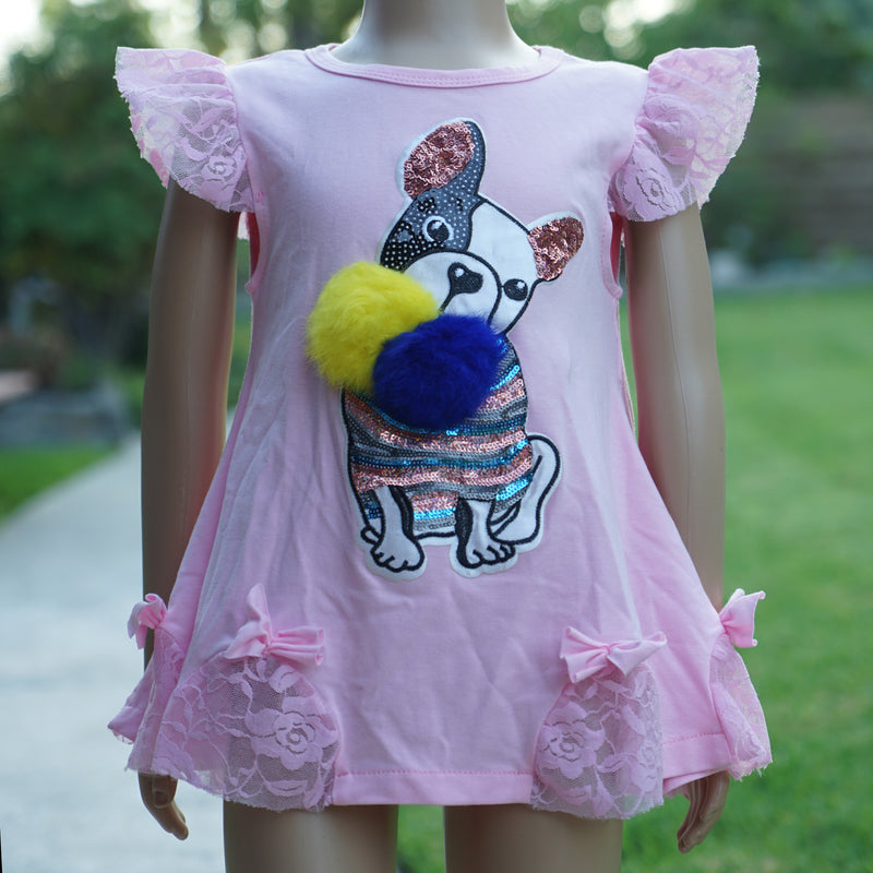 Pink Sequins French Bulldog Pom-Pom Swing Dress