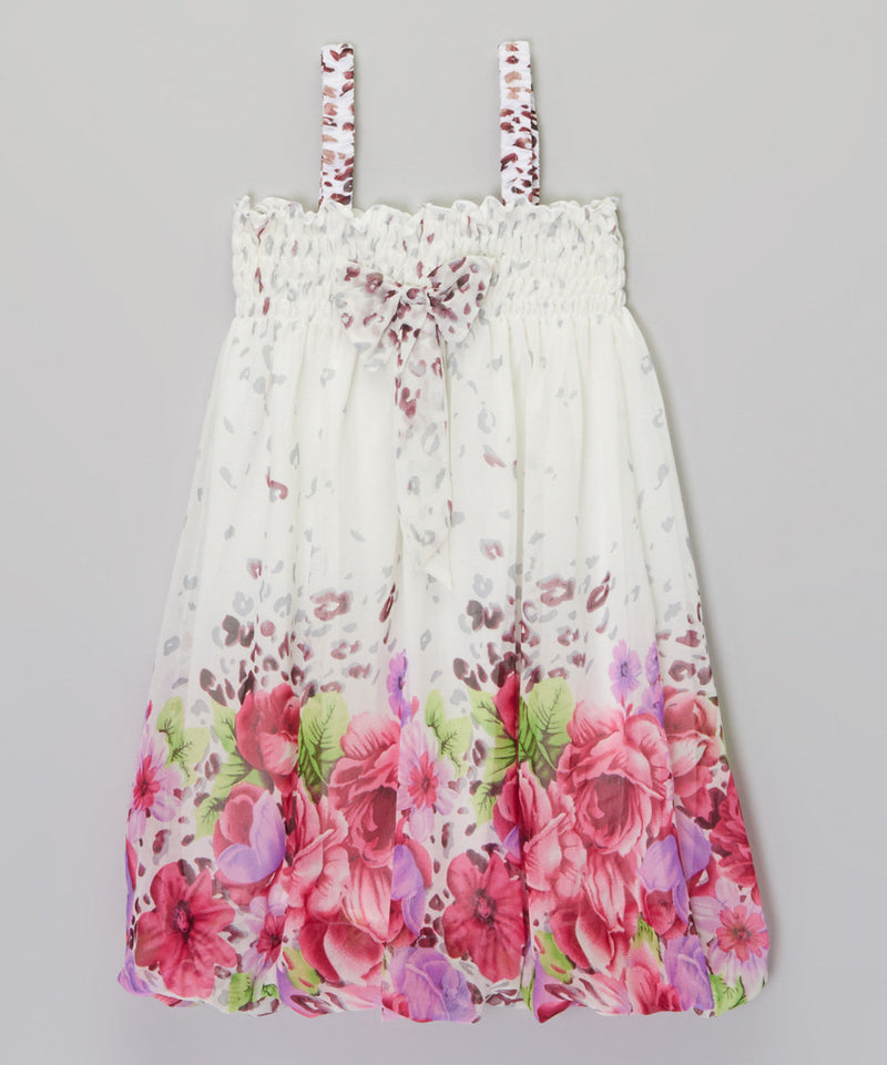 White Leopard Hot Pink Floral Chiffon Baby Doll Dress