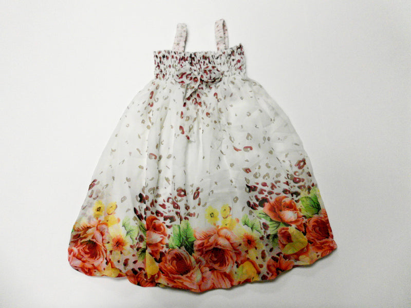 White Leopard Orange Floral Chiffon Baby Doll Dress