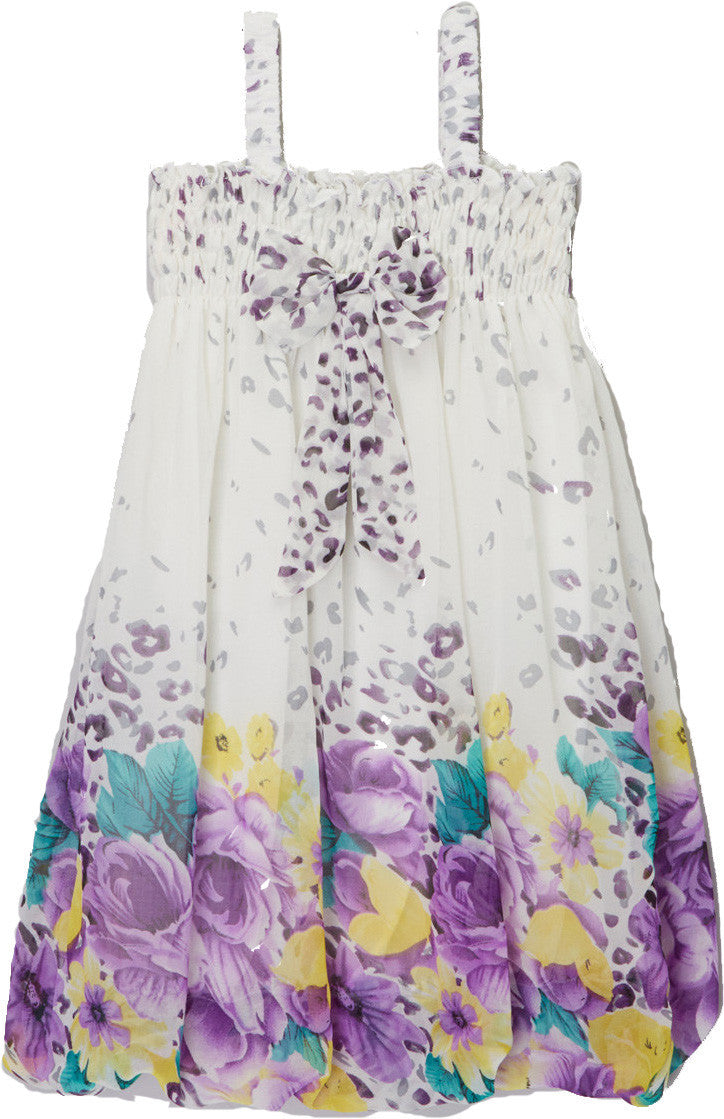 White Leopard Purple Floral Chiffon Baby Doll Dress