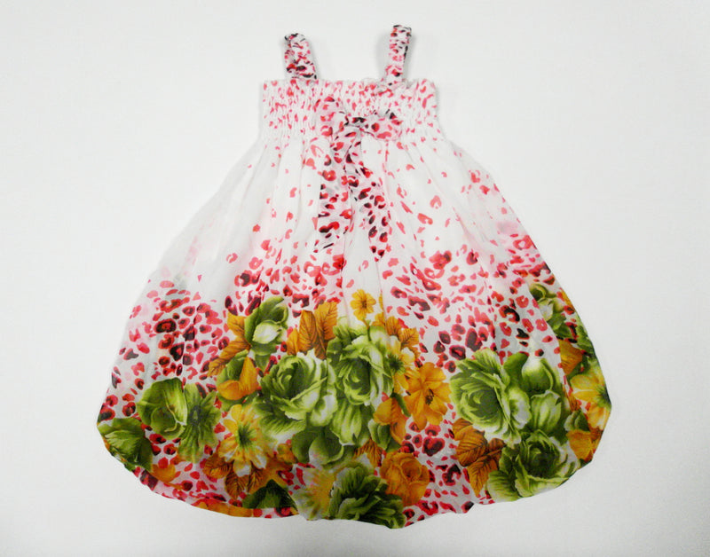 Leopard Lime Green Floral Chiffon Baby Doll Dress