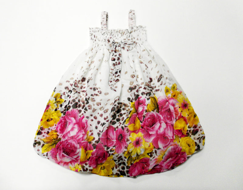 Leopard Hot Pink-Yellow Floral Chiffon Baby Doll Dress