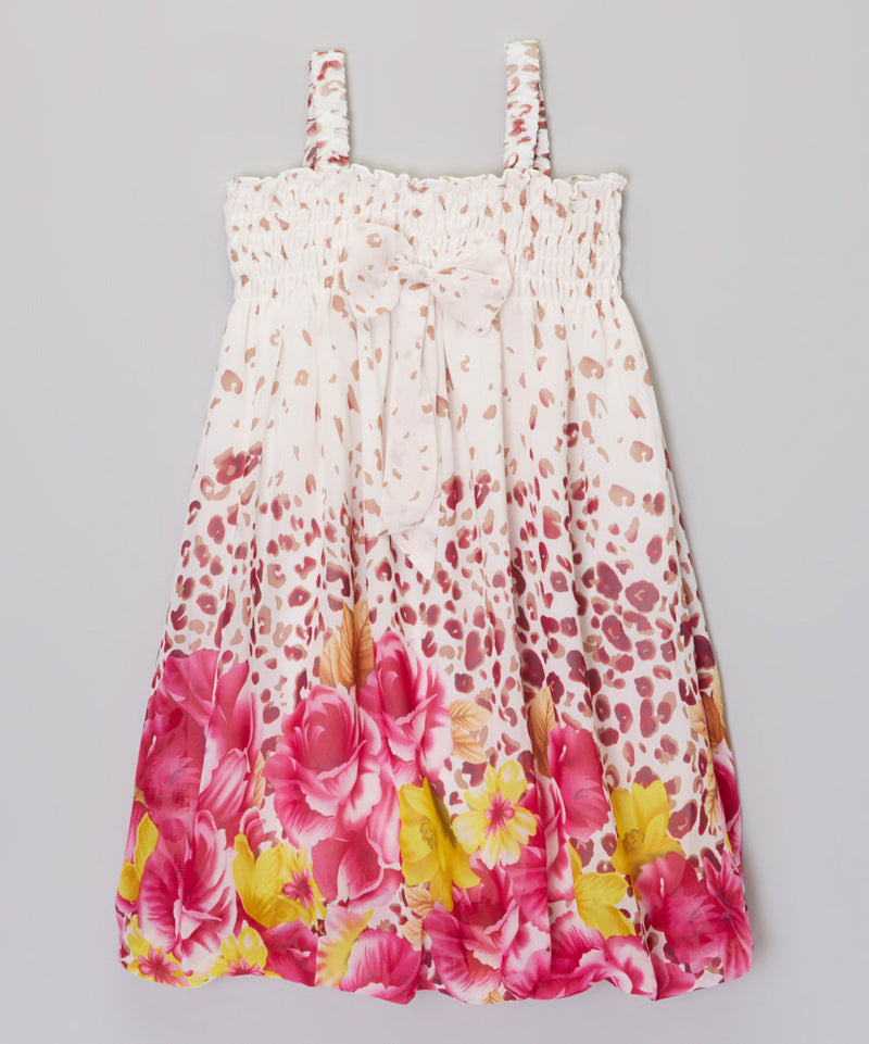 Leopard Hot Pink Floral Chiffon Baby Doll Dress