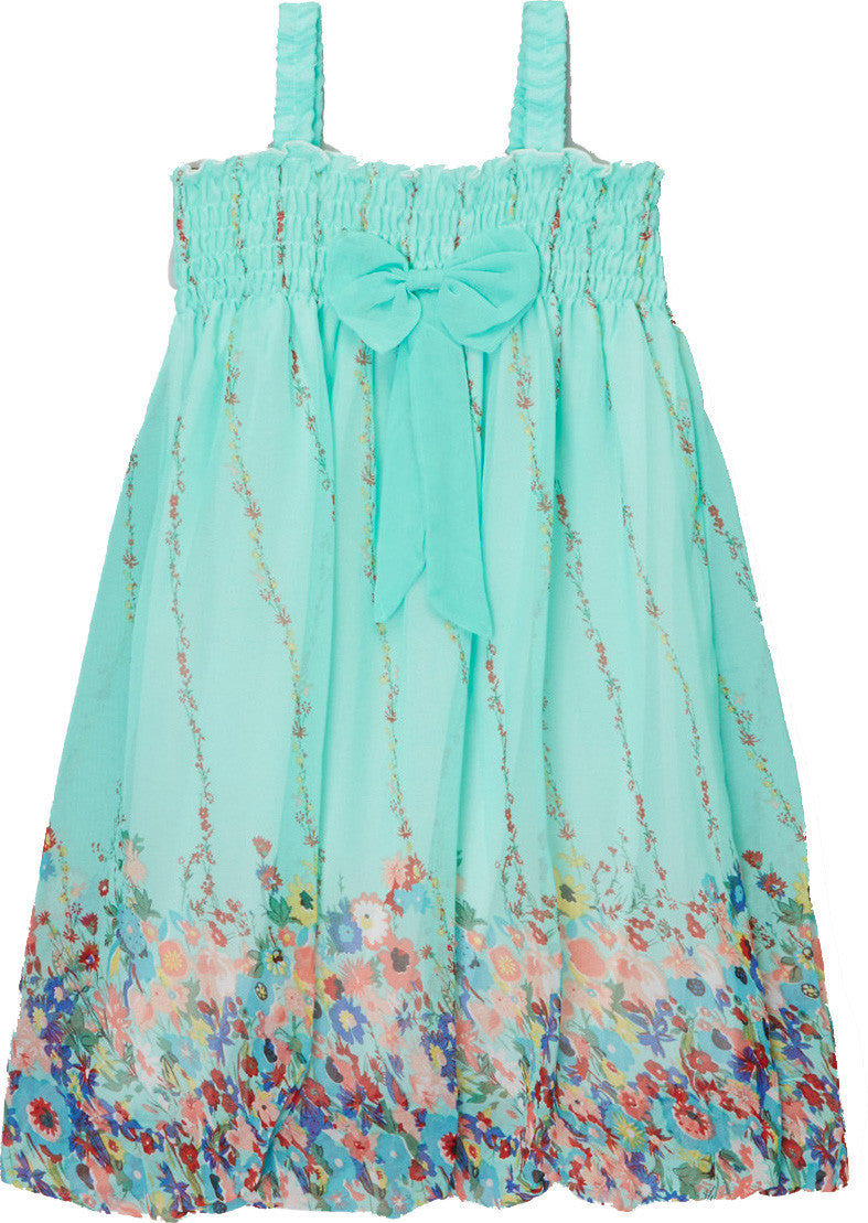 Teal Floral Chiffon Baby Doll Dress