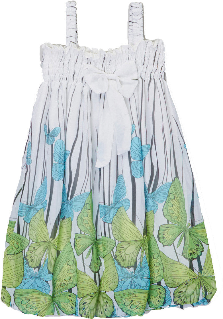 Green Butterfly Chiffon Baby Doll Dress