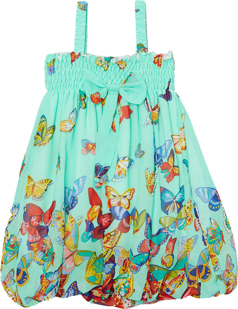 Teal Butterfly Chiffon Baby Doll Dress