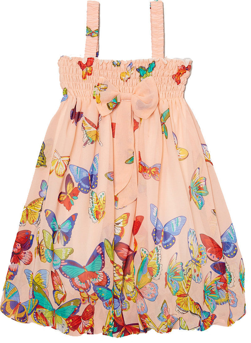 Peach Butterfly Chiffon Baby Doll Dress