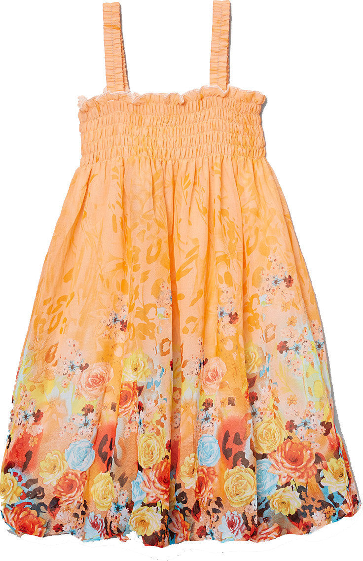 Orange Floral Chiffon Baby Doll Dress