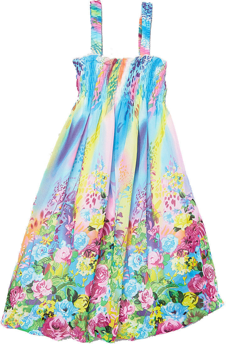 Blue Rainbow Floral Chiffon Baby Doll Dress