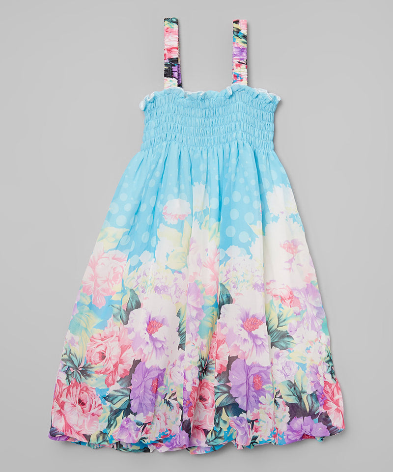 Blue Floral Chiffon Baby Doll Dress