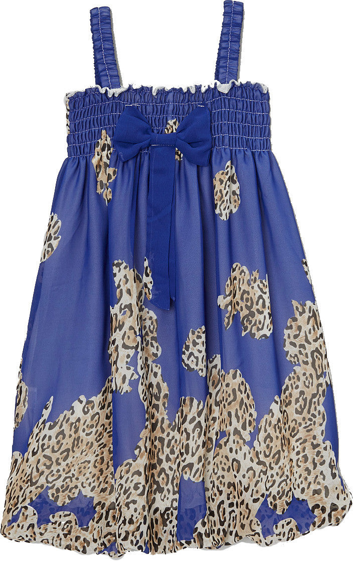 Royal Blue Leopard Chiffon Baby Doll Dress