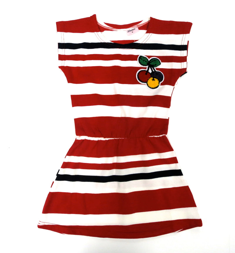 Red Striped Cherry Polo Dress