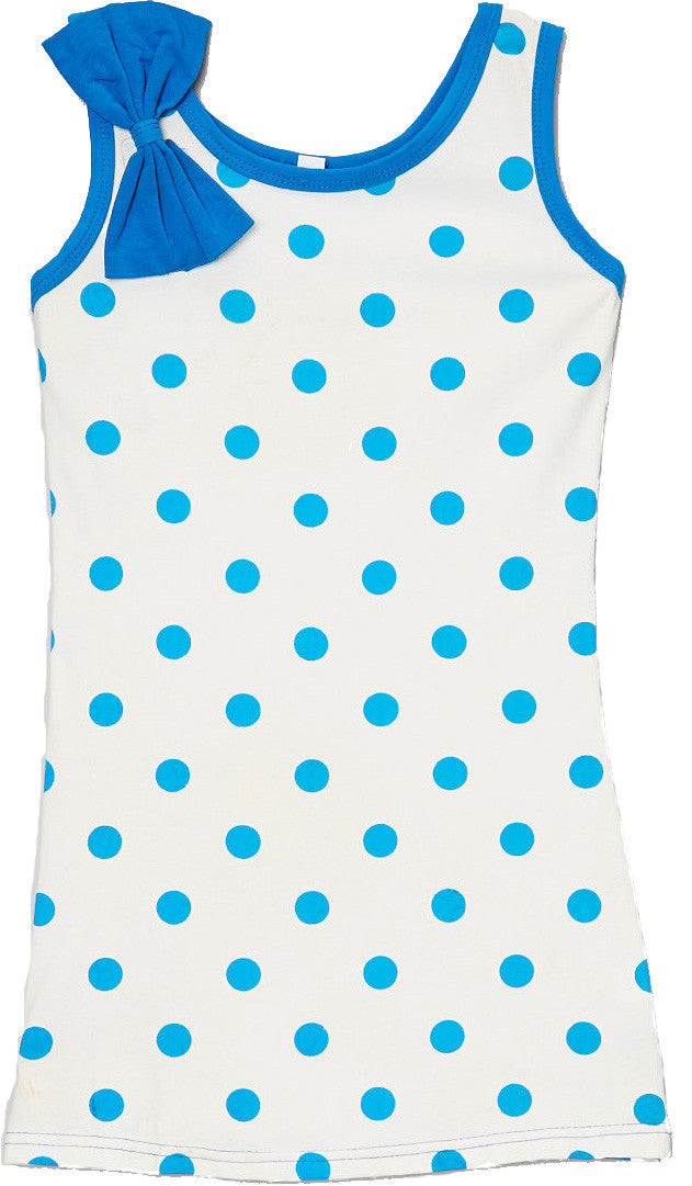 Navy Polka Dot  Bow Cotton Dress