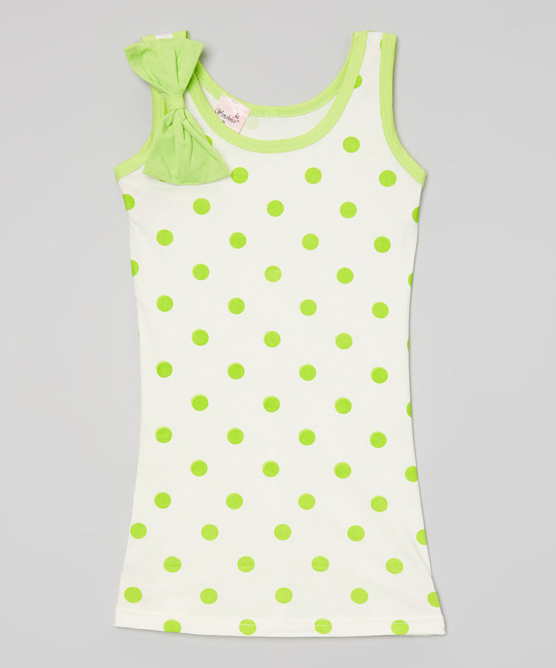 Lime Polkadot Bow Cotton Dress