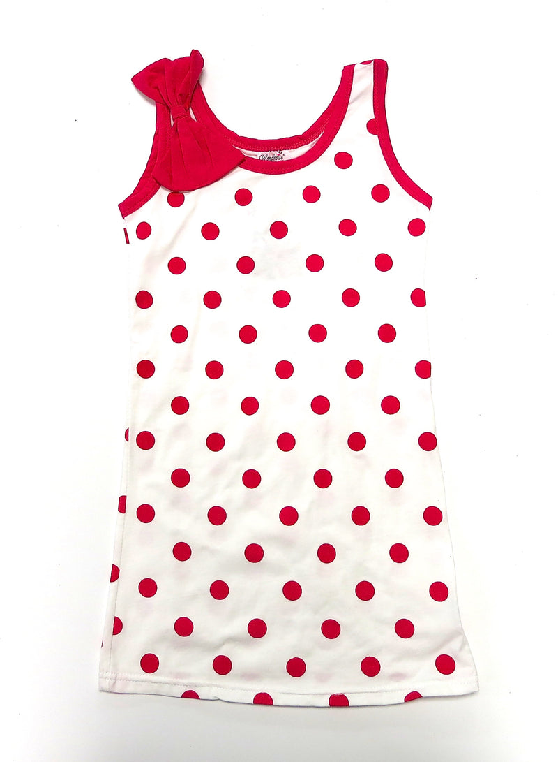 Hot Pink Polkadot Bow Cotton Dress