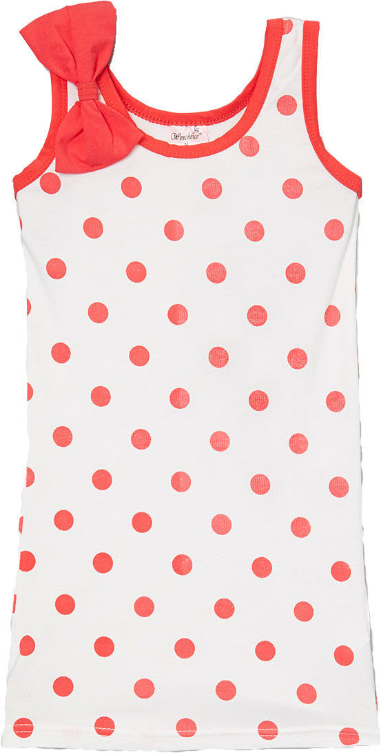 Red Polkadot Bow Cotton Dress