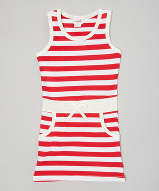 Red & White Striped Cotton Polo Dress