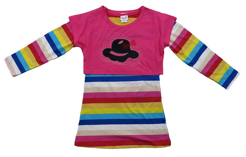 Rainbow Long Sleeve Cotton Dress With Hot Pink Vest