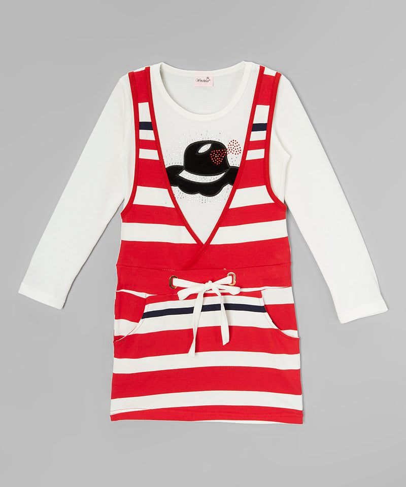 Red/White Striped Cotton Vest Dress With White Long Sleeve Shirt
