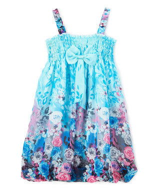 Blue Rose Chiffon Baby Doll Dress