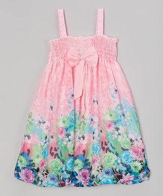 Pink Rose Chiffon Baby Doll Dress