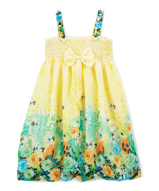 Yellow Rose Chiffon Baby Doll Dress