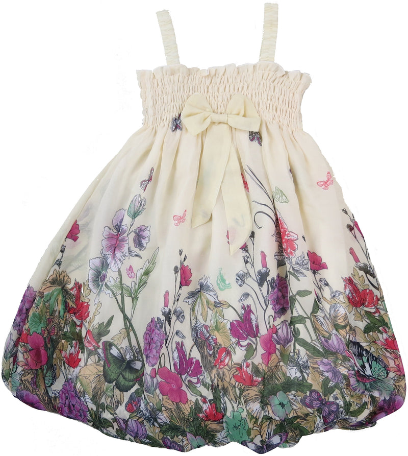 Ivory Floral Chiffon Baby Doll Dress