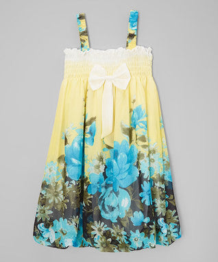 Yellow & Blue Floral Chiffon Baby Doll Dress