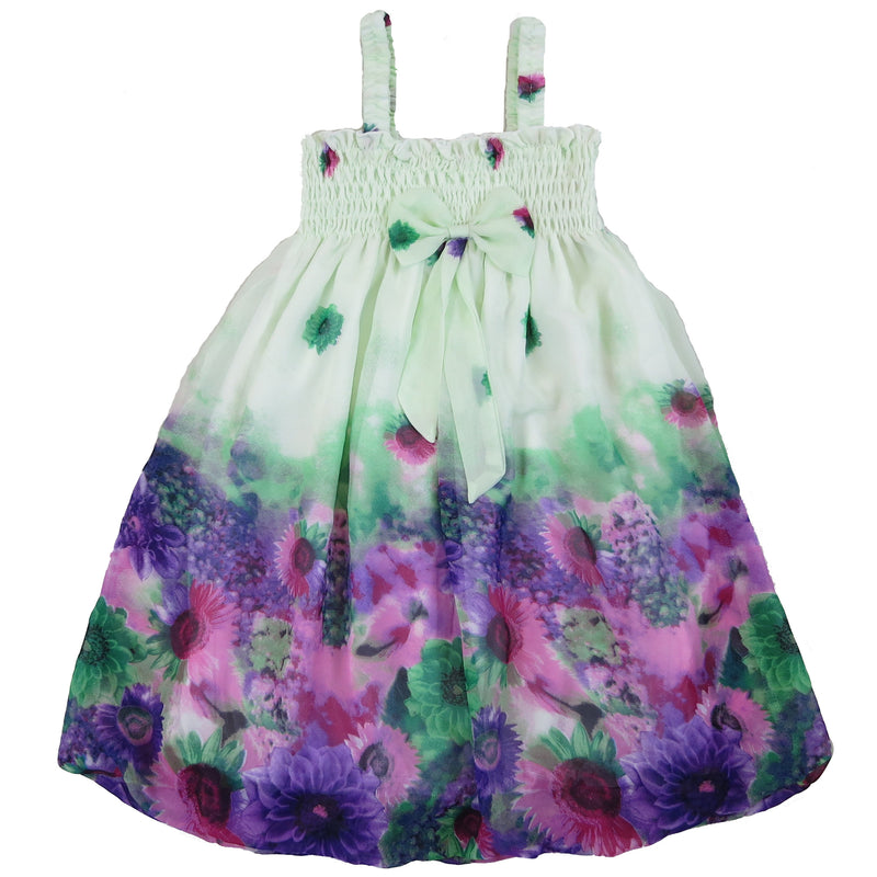 Lime Green & Purple Chiffon Baby Doll Dress