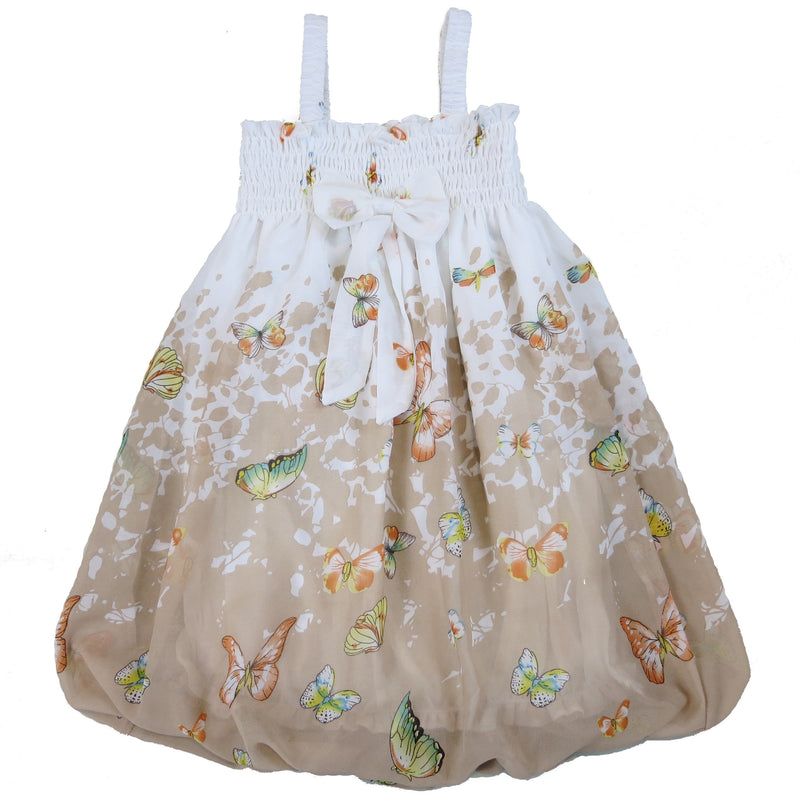 White & Brown Butterflies Chiffon Baby Doll Dress