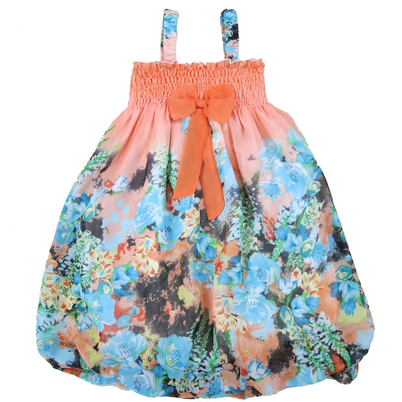 Orange & Blue Floral Chiffon Baby Doll Dress