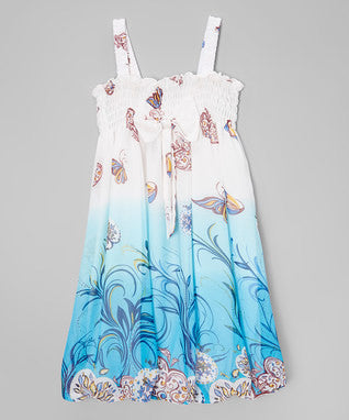 Blue & White Butterfly & Tree Chiffon Baby Doll Dress
