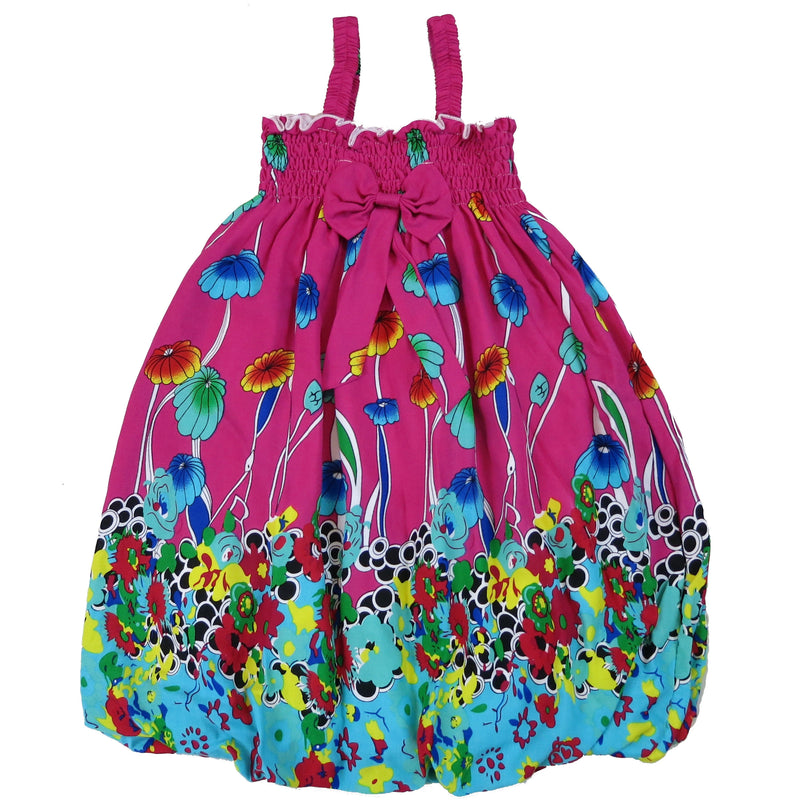 Hot Pink & Green Mushroom Floral Cotton Baby Doll Dress