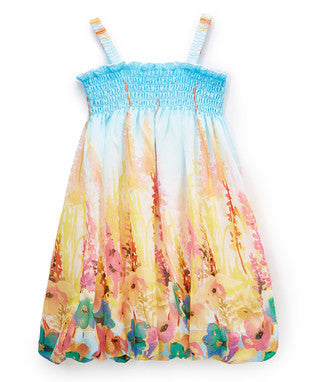 Blue & Yellow Floral Chiffon Baby Doll Dress