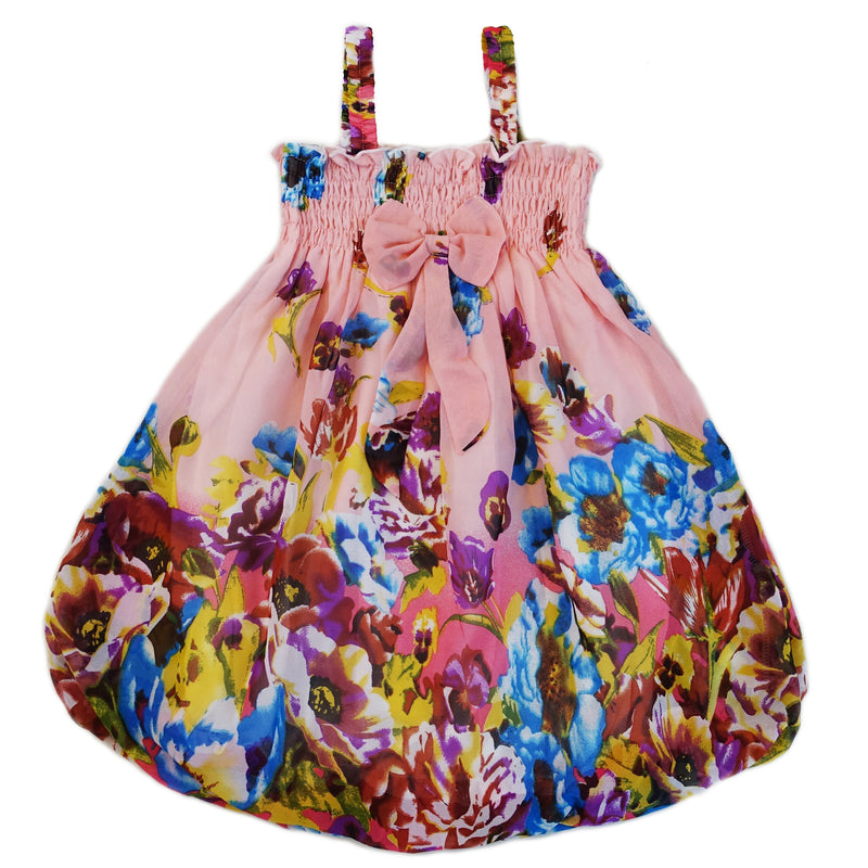Pink Coral Floral Chiffon Baby Doll Dress