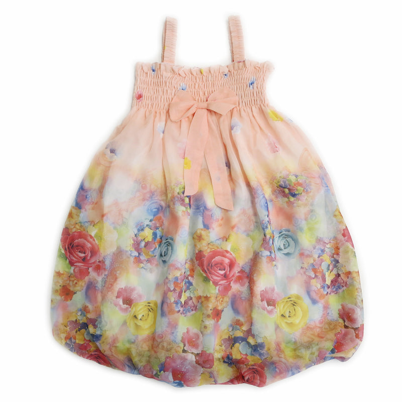 Coral Rose Floral Chiffon Baby Doll Dress