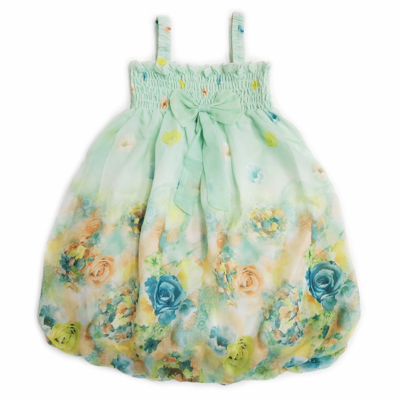 Teal Rose Floral Chiffon Baby Doll Dress