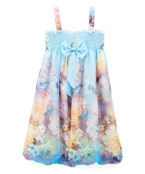 Baby Blue Peony Butterfly Chiffon Baby Doll Dress