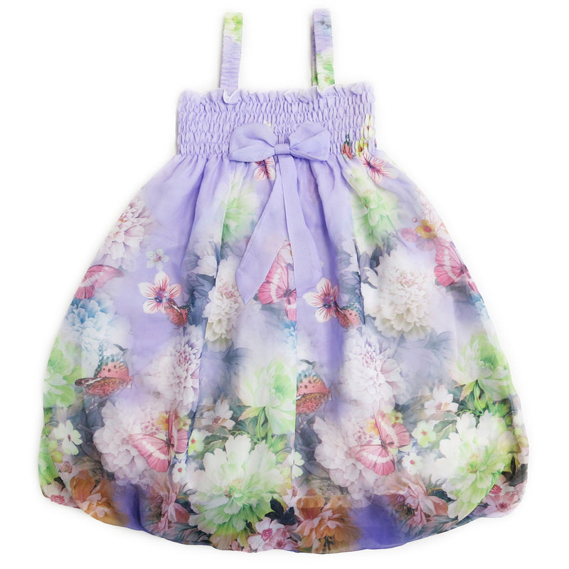 Lavender Peony Butterfly Chiffon Baby Doll Dress