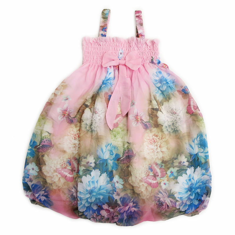 Light Pink Peony Butterfly Chiffon Baby Doll Dress