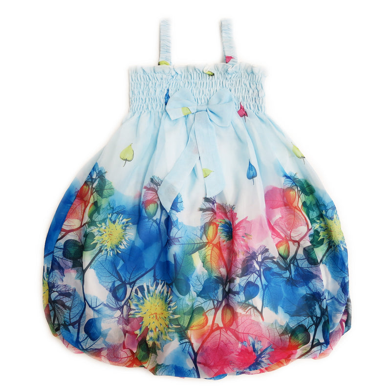 Baby Blue Leaves Chiffon Baby Doll Dress