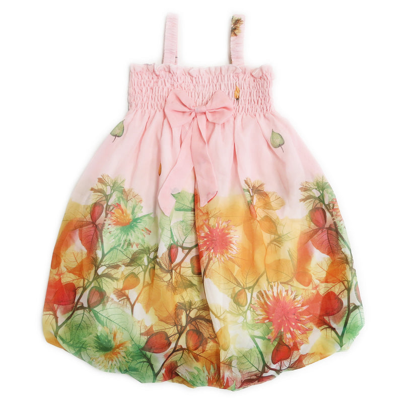 Light Pink Leaves Chiffon Baby Doll Dress